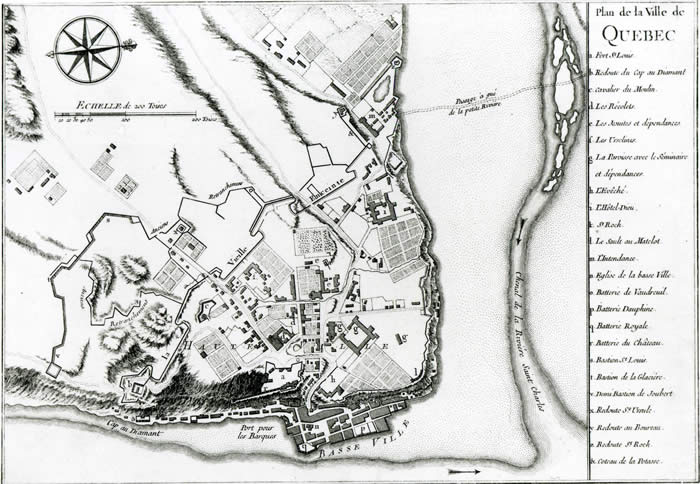 plan of Québec shows the grip of institutions and fortifications